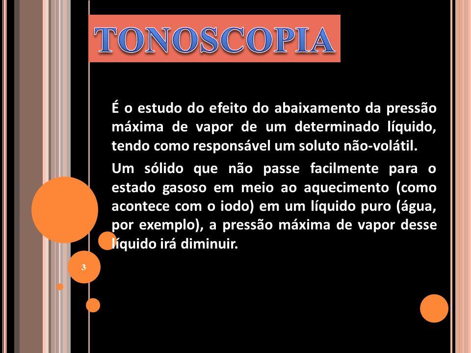 TONOSCOPIA É o estudo do efeito do abaixamento da pressão máxima de vapor de um determinado líquido, tendo como responsável um soluto não-volátil.