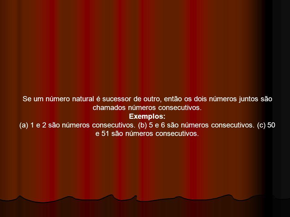 Se um número natural é sucessor de outro, então os dois números juntos são chamados números consecutivos.