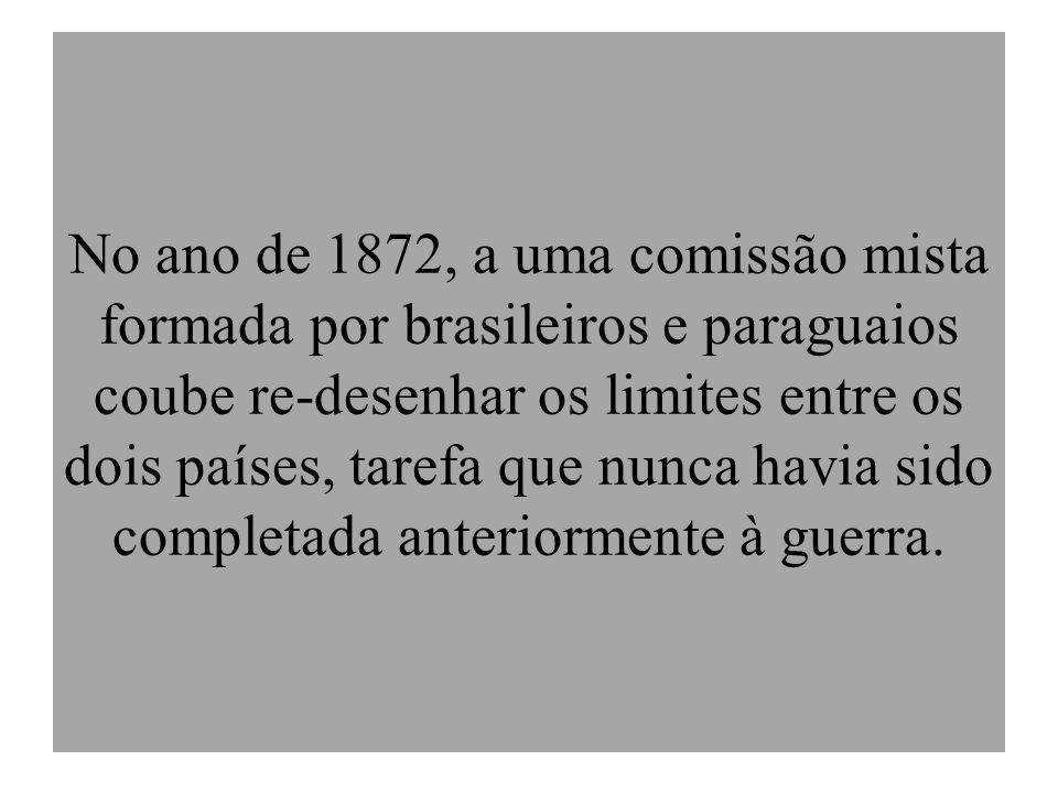 No ano de 1872, a uma comissão mista formada por brasileiros e paraguaios coube re-desenhar os limites entre os dois países, tarefa que nunca havia sido completada anteriormente à guerra.