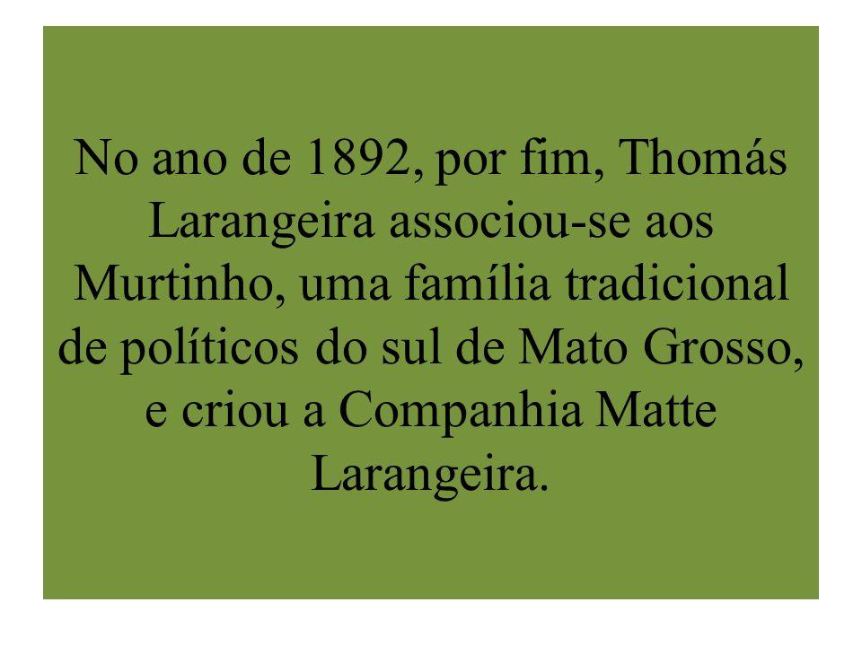 No ano de 1892, por fim, Thomás Larangeira associou-se aos Murtinho, uma família tradicional de políticos do sul de Mato Grosso, e criou a Companhia Matte Larangeira.
