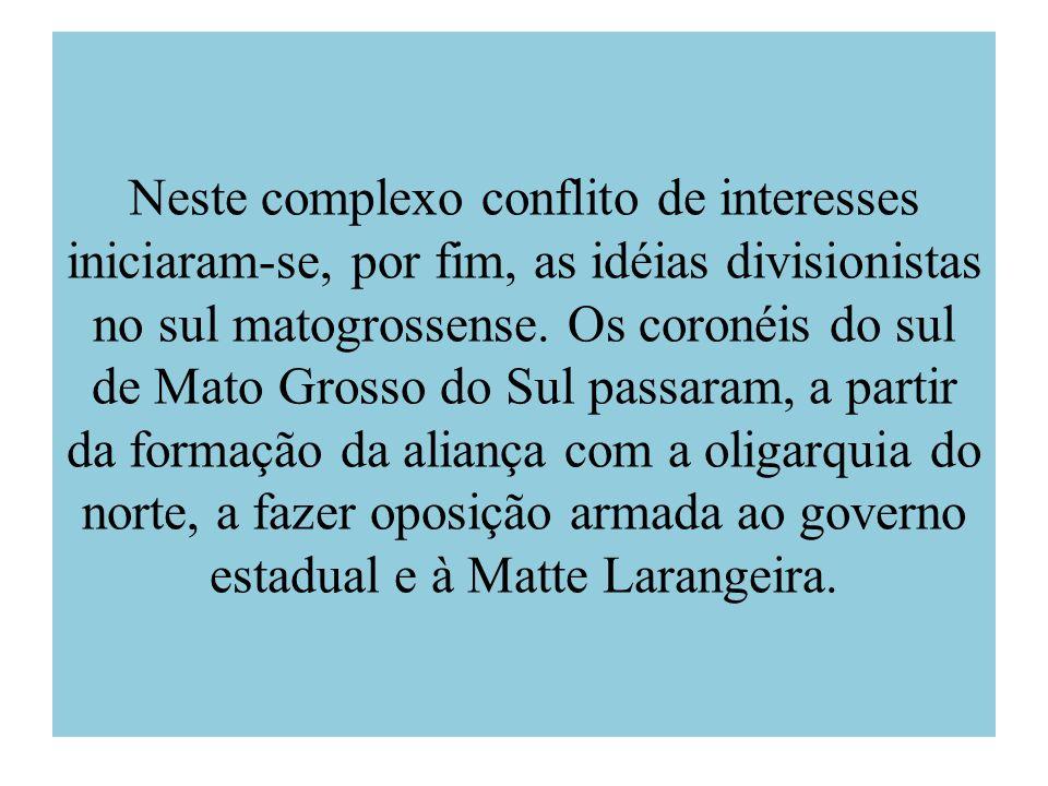 Neste complexo conflito de interesses iniciaram-se, por fim, as idéias divisionistas no sul matogrossense.