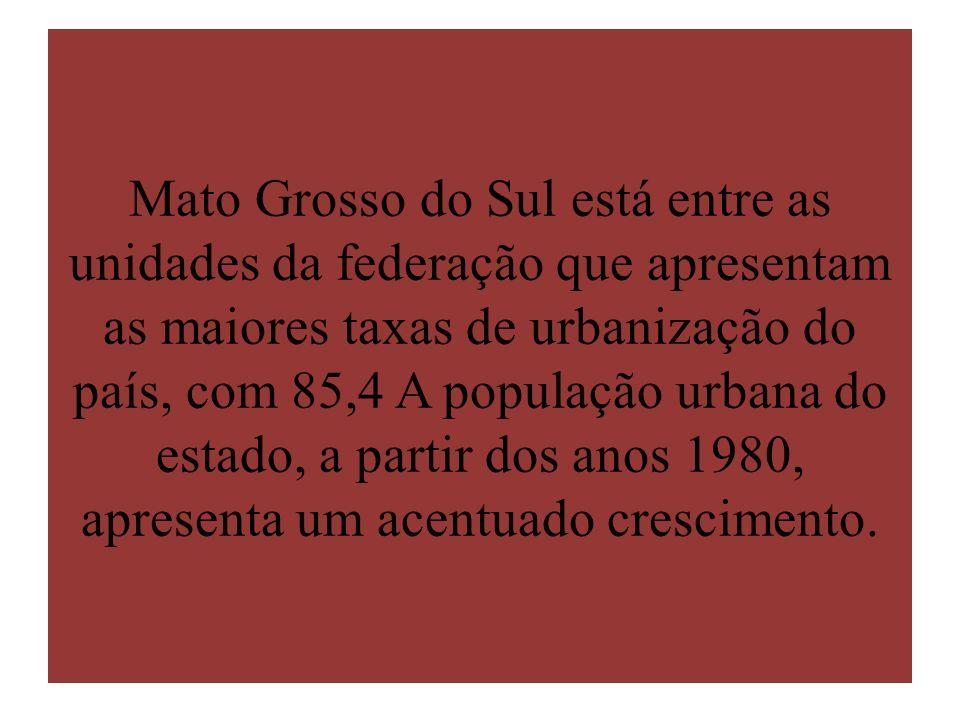 Mato Grosso do Sul está entre as unidades da federação que apresentam as maiores taxas de urbanização do país, com 85,4 A população urbana do estado, a partir dos anos 1980, apresenta um acentuado crescimento.