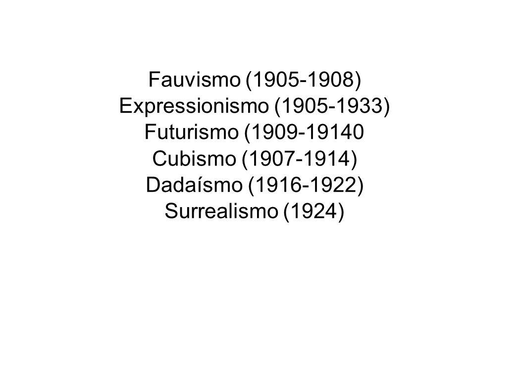 Fauvismo (1905-1908) Expressionismo (1905-1933) Futurismo (1909-19140. Cubismo (1907-1914) Dadaísmo (1916-1922)