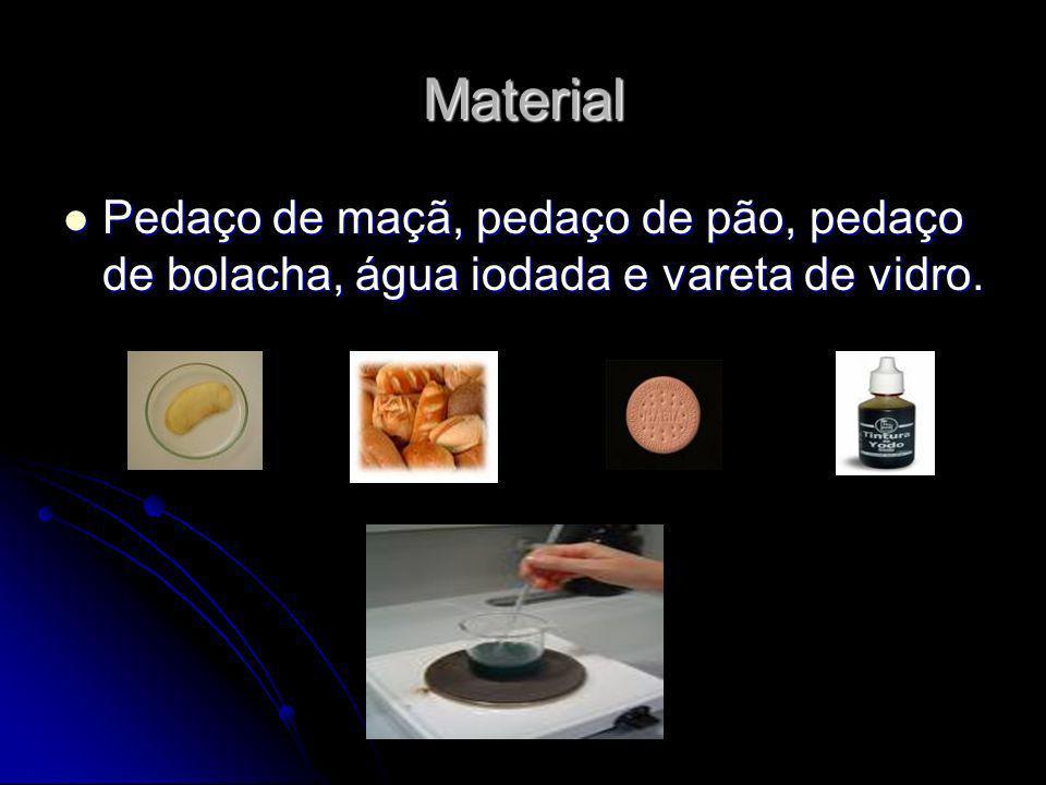 Material Pedaço de maçã, pedaço de pão, pedaço de bolacha, água iodada e vareta de vidro.