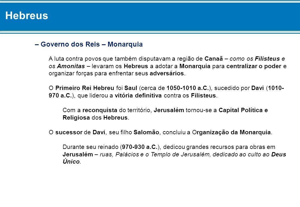 Hebreus – Governo dos Reis – Monarquia