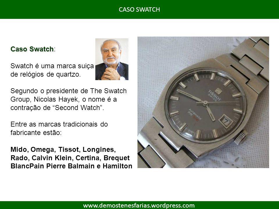 CASO SWATCH Caso Swatch: Swatch é uma marca suiça. de relógios de quartzo.