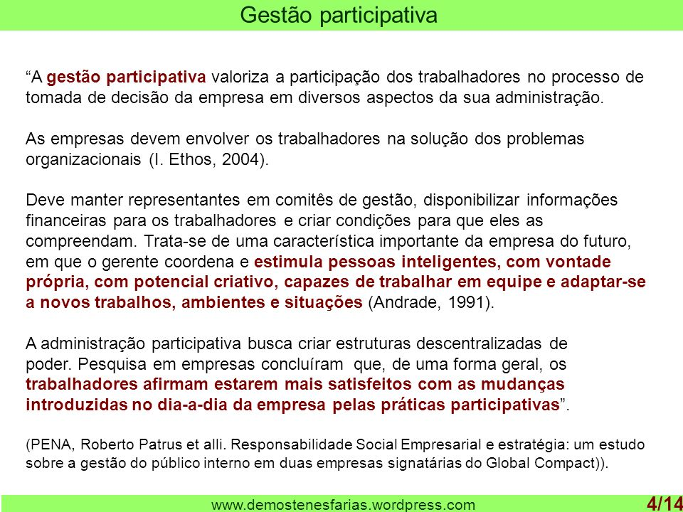 Gestão participativa 4/14