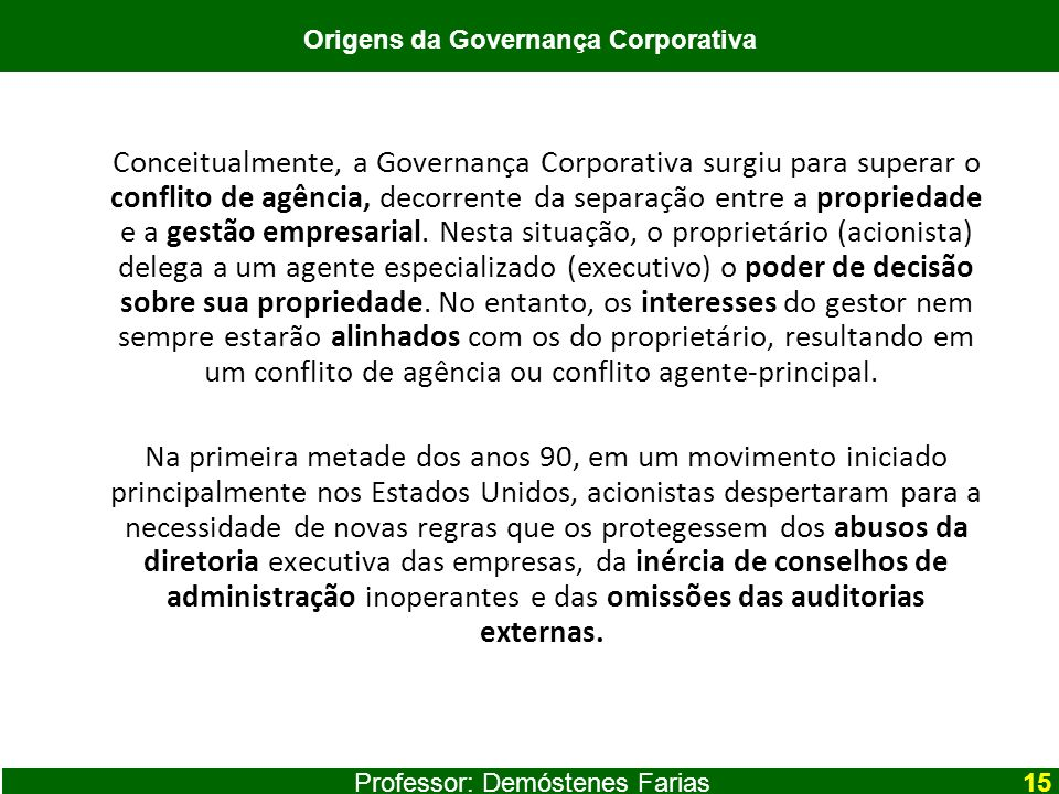 Origens da Governança Corporativa