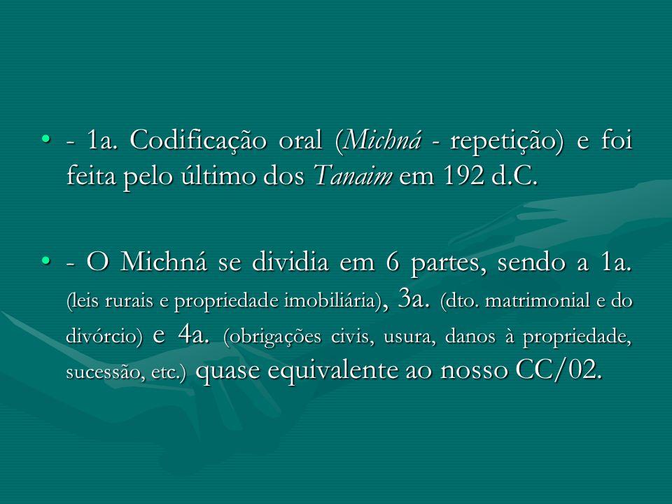 - 1a. Codificação oral (Michná - repetição) e foi feita pelo último dos Tanaim em 192 d.C.