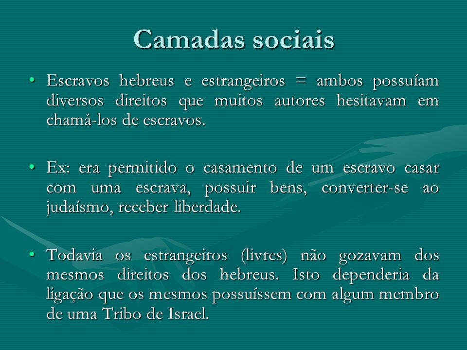 Camadas sociais Escravos hebreus e estrangeiros = ambos possuíam diversos direitos que muitos autores hesitavam em chamá-los de escravos.