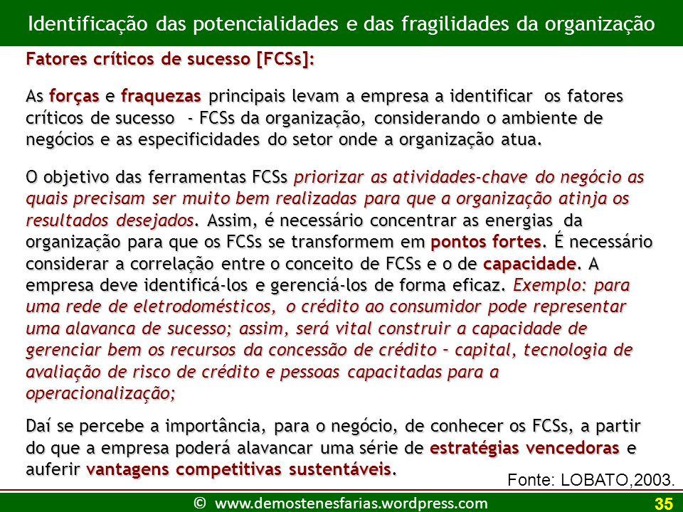 Identificação das potencialidades e das fragilidades da organização