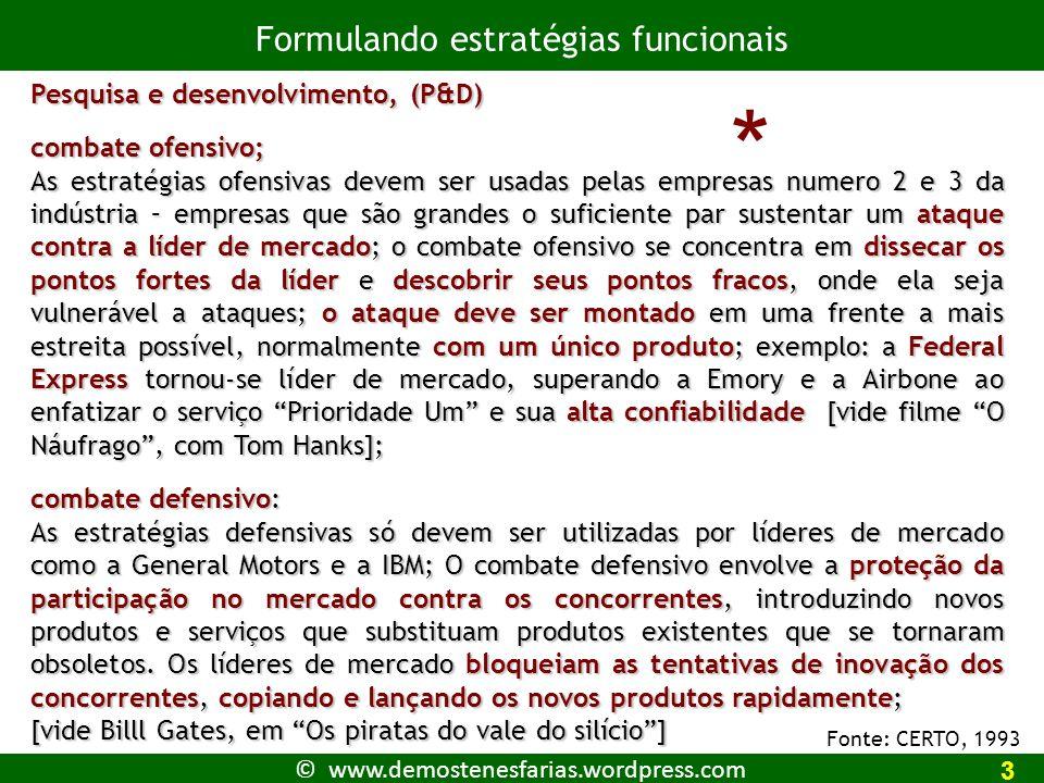 * Formulando estratégias funcionais Pesquisa e desenvolvimento, (P&D)