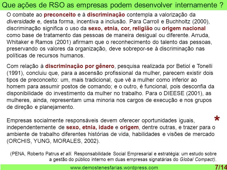 Que ações de RSO as empresas podem desenvolver internamente