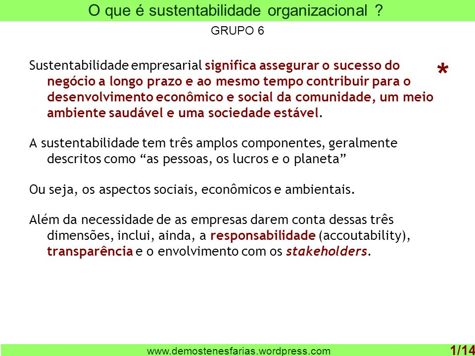 O que é sustentabilidade organizacional