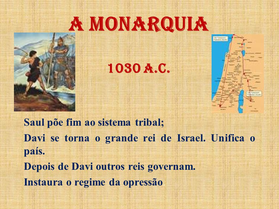 A MONARQUIA 1030 a.C. Saul põe fim ao sistema tribal;