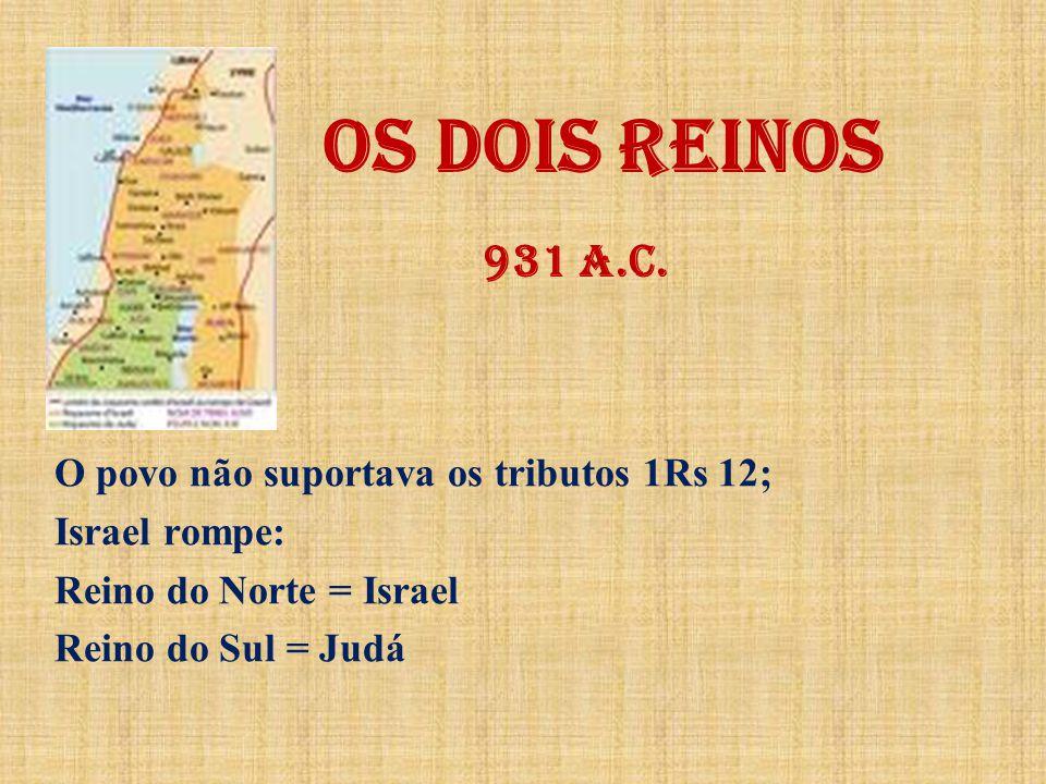 OS DOIS REINOS 931 a.C. O povo não suportava os tributos 1Rs 12;