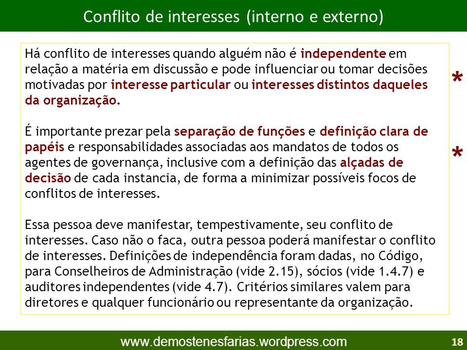 Conflito de interesses (interno e externo)
