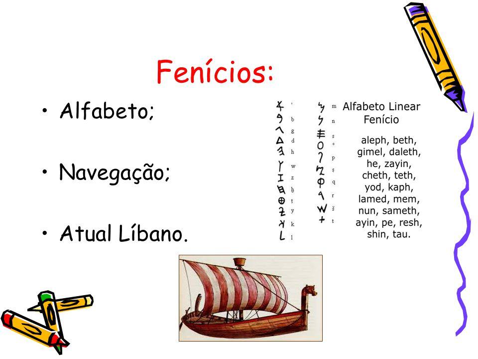 Fenícios: Alfabeto; Navegação; Atual Líbano.