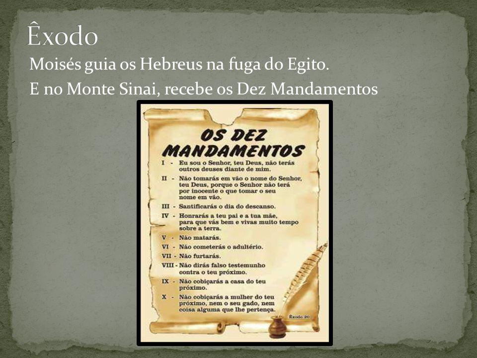 Êxodo Moisés guia os Hebreus na fuga do Egito. E no Monte Sinai, recebe os Dez Mandamentos