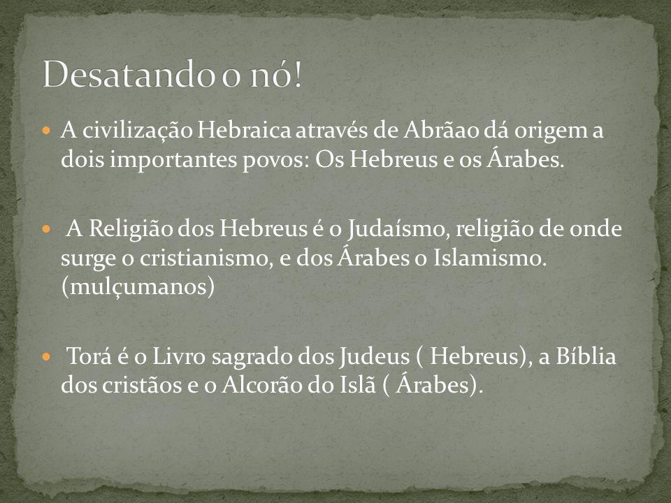 Desatando o nó! A civilização Hebraica através de Abrãao dá origem a dois importantes povos: Os Hebreus e os Árabes.