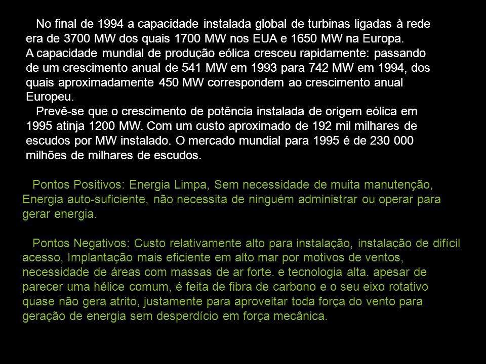 No final de 1994 a capacidade instalada global de turbinas ligadas à rede era de 3700 MW dos quais 1700 MW nos EUA e 1650 MW na Europa.