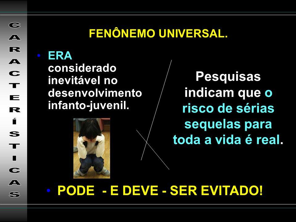 FENÔNEMO UNIVERSAL. ERA considerado inevitável no desenvolvimento infanto-juvenil.