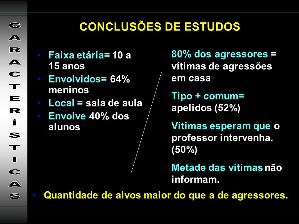 CARACTERÍSTICAS CONCLUSÕES DE ESTUDOS