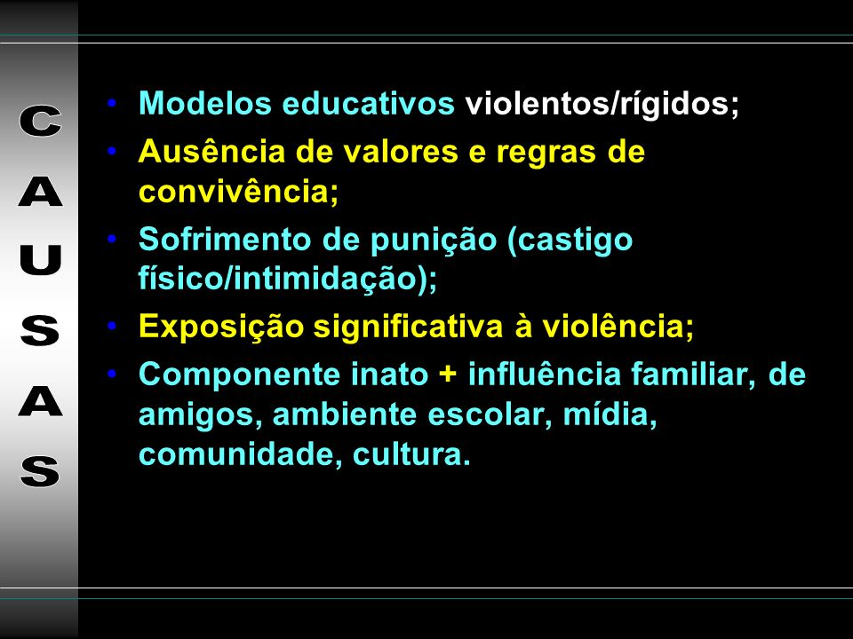 CAUSAS Modelos educativos violentos/rígidos;