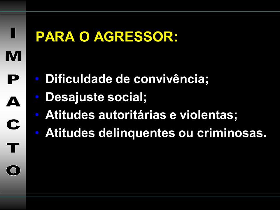 PARA O AGRESSOR: IMPACTO Dificuldade de convivência; Desajuste social;