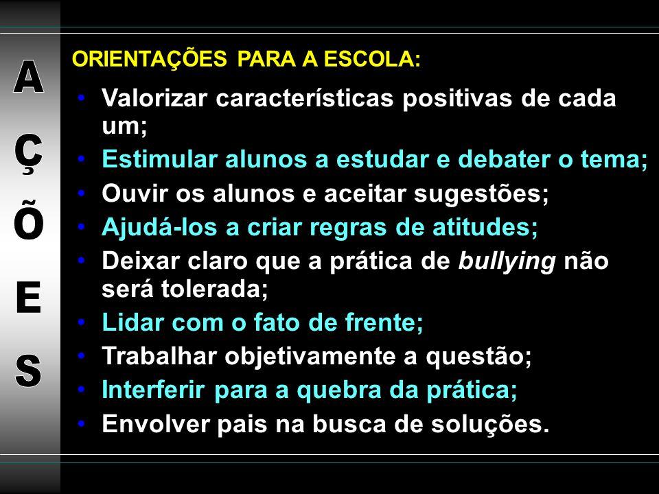 AÇÕES Valorizar características positivas de cada um;