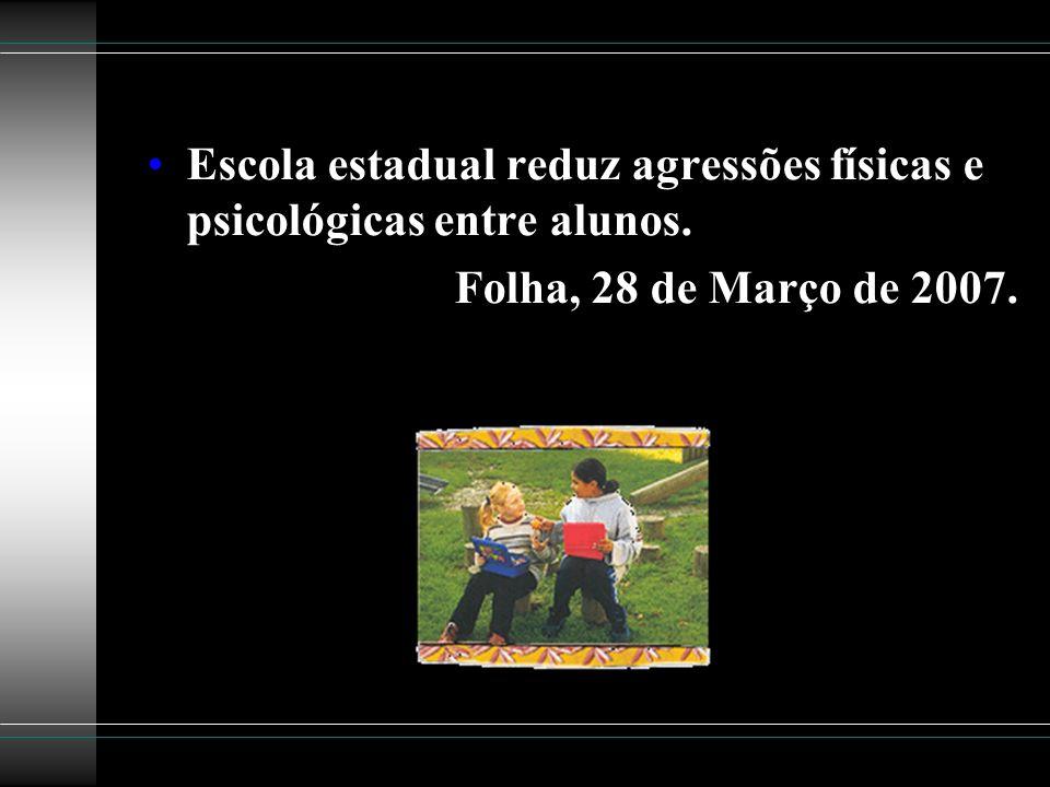 Escola estadual reduz agressões físicas e psicológicas entre alunos.