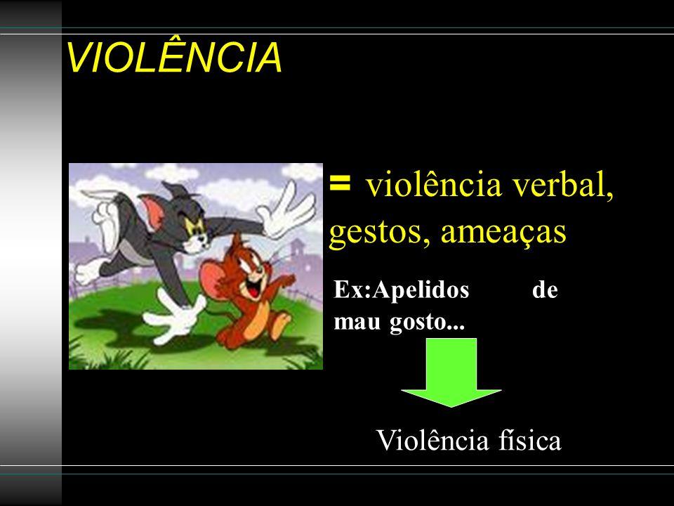 VIOLÊNCIA = violência verbal, gestos, ameaças Violência física