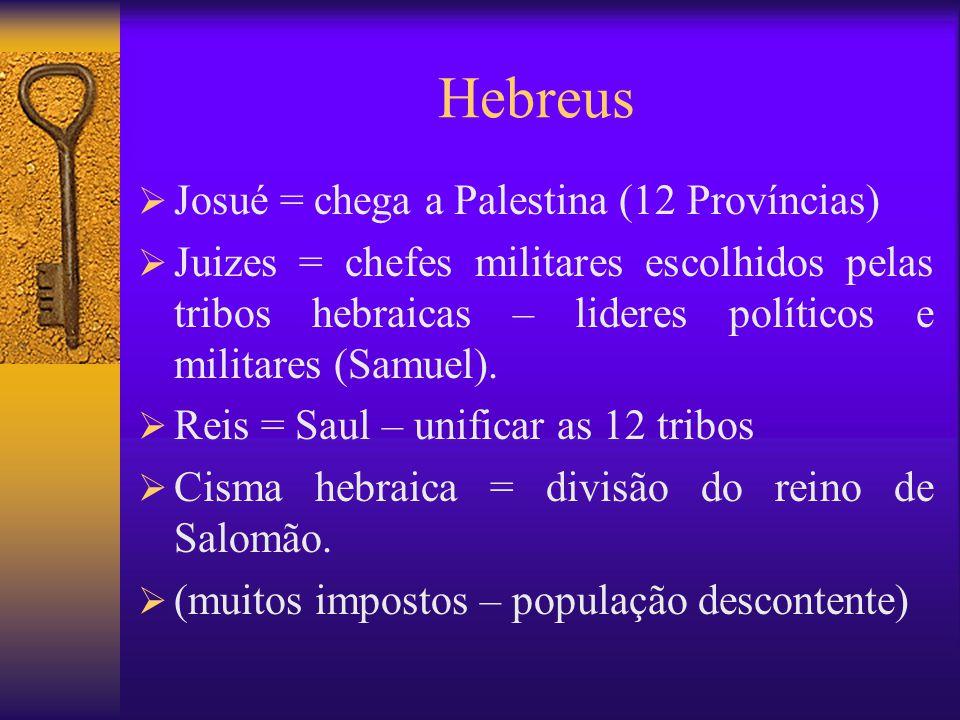 Hebreus Josué = chega a Palestina (12 Províncias)