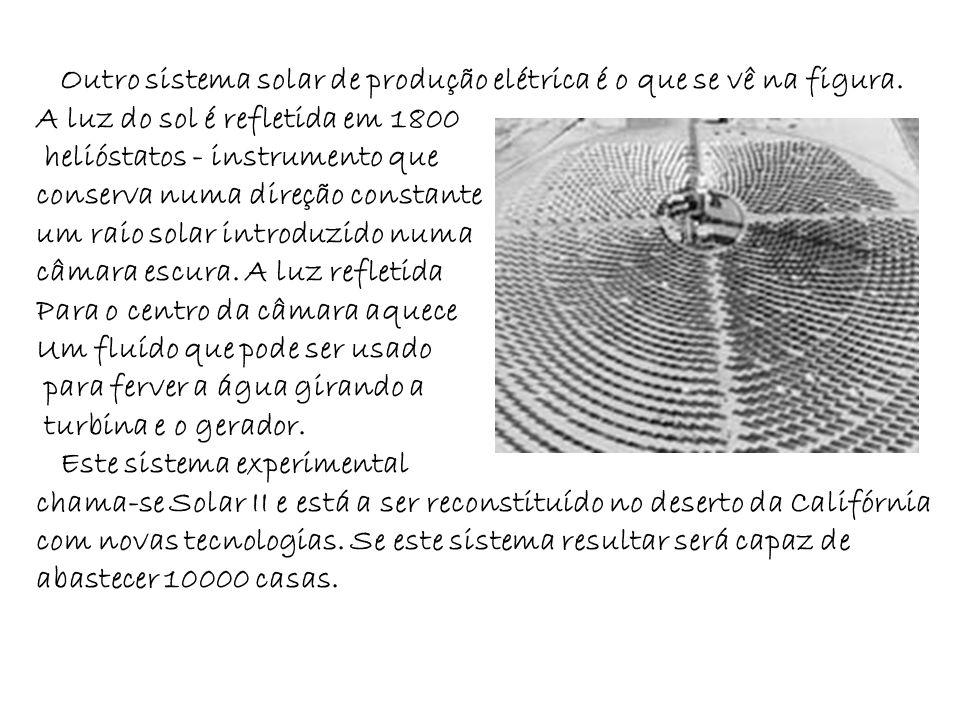 Outro sistema solar de produção elétrica é o que se vê na figura.