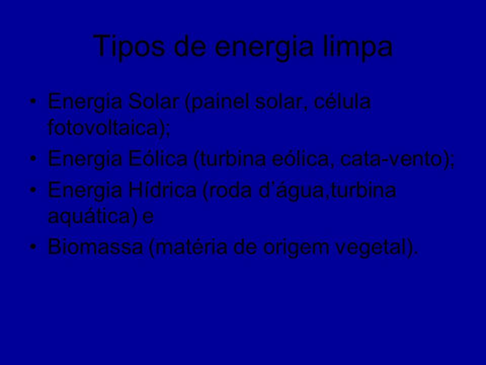 Tipos de energia limpa Energia Solar (painel solar, célula fotovoltaica); Energia Eólica (turbina eólica, cata-vento);