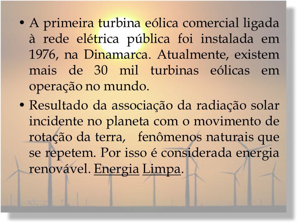 A primeira turbina eólica comercial ligada à rede elétrica pública foi instalada em 1976, na Dinamarca. Atualmente, existem mais de 30 mil turbinas eólicas em operação no mundo.
