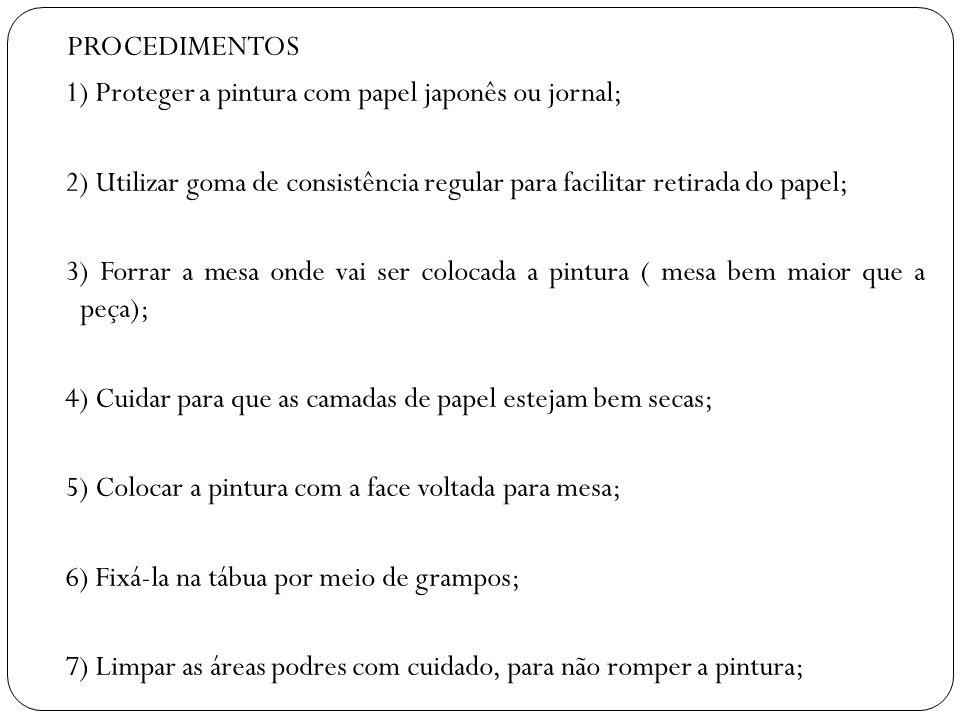 PROCEDIMENTOS 1) Proteger a pintura com papel japonês ou jornal;
