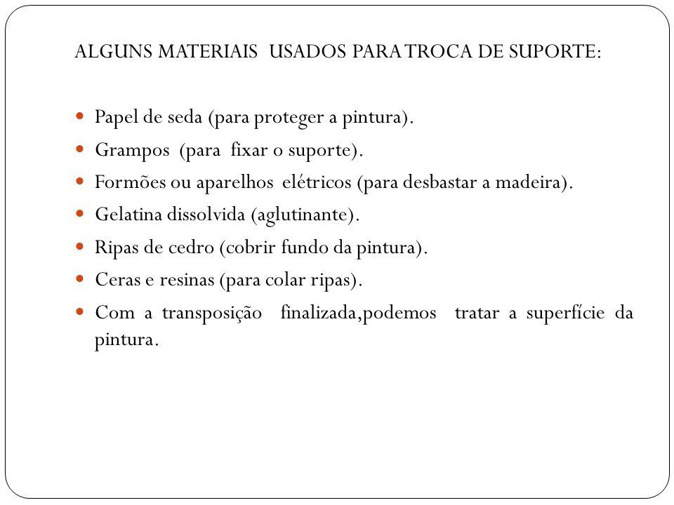 ALGUNS MATERIAIS USADOS PARA TROCA DE SUPORTE: