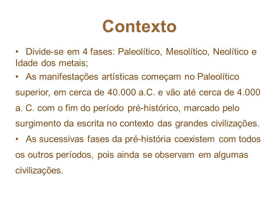 Contexto Divide-se em 4 fases: Paleolítico, Mesolítico, Neolítico e Idade dos metais;