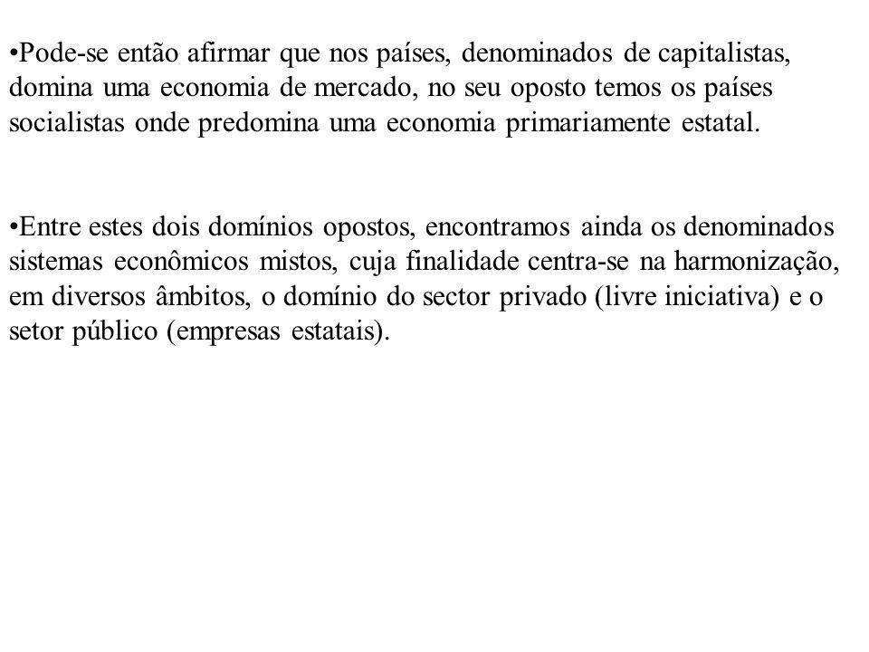 Pode-se então afirmar que nos países, denominados de capitalistas, domina uma economia de mercado, no seu oposto temos os países socialistas onde predomina uma economia primariamente estatal.