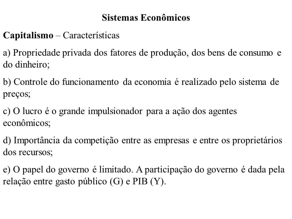 Sistemas Econômicos Capitalismo – Características. a) Propriedade privada dos fatores de produção, dos bens de consumo e do dinheiro;