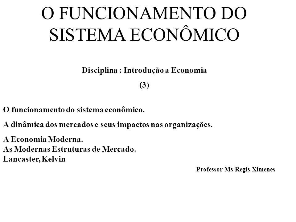 O FUNCIONAMENTO DO SISTEMA ECONÔMICO Disciplina : Introdução a Economia