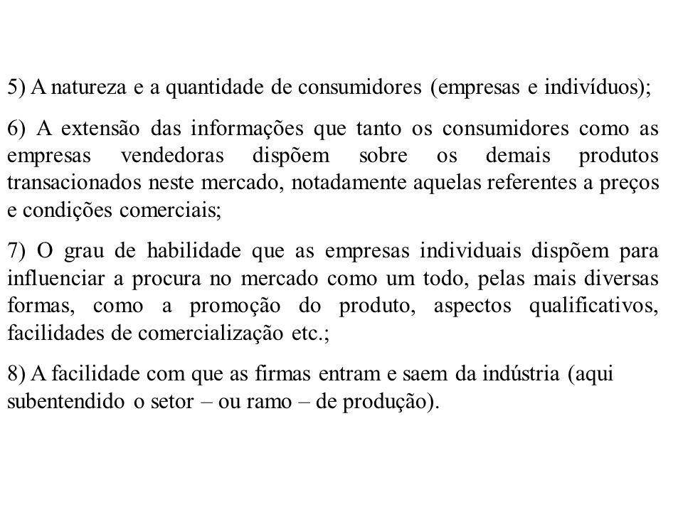 5) A natureza e a quantidade de consumidores (empresas e indivíduos);