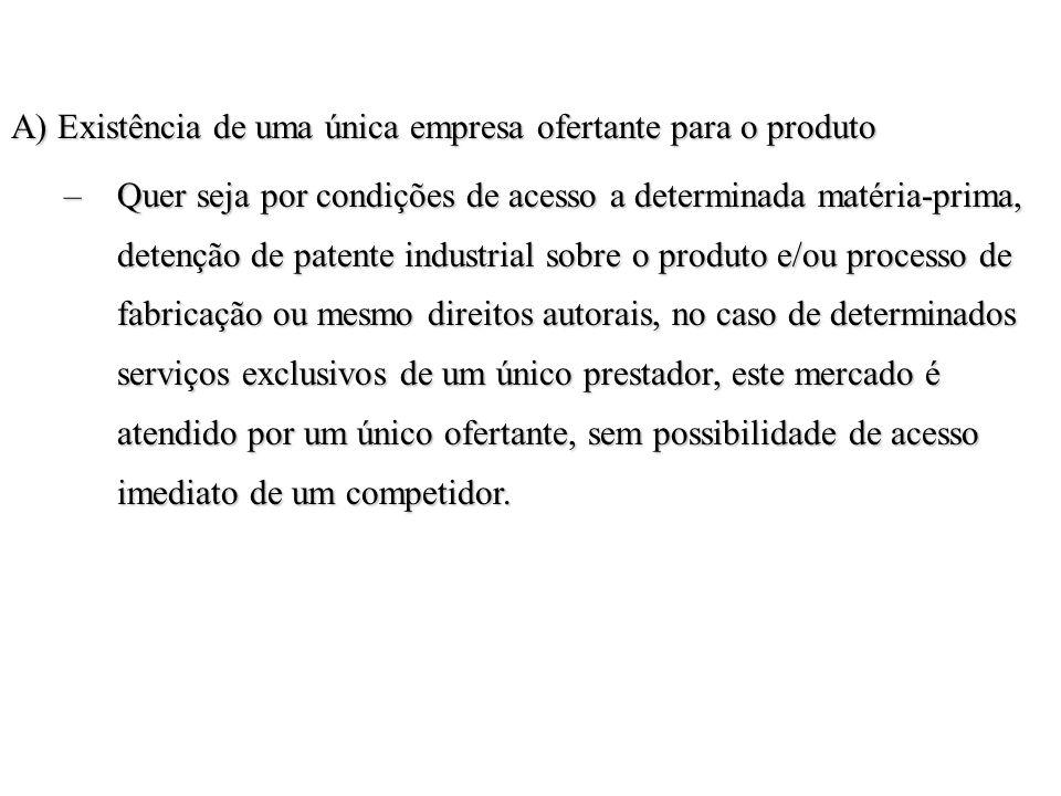 A) Existência de uma única empresa ofertante para o produto