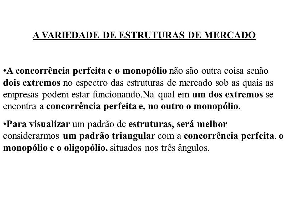 A VARIEDADE DE ESTRUTURAS DE MERCADO