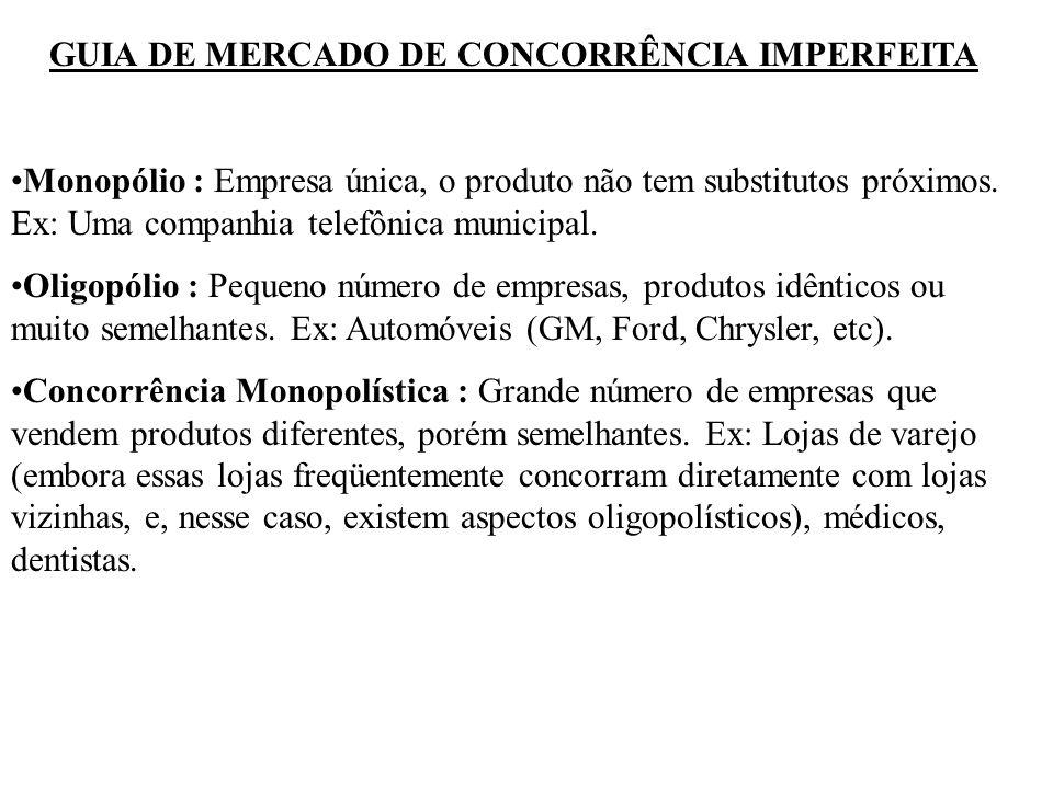 GUIA DE MERCADO DE CONCORRÊNCIA IMPERFEITA