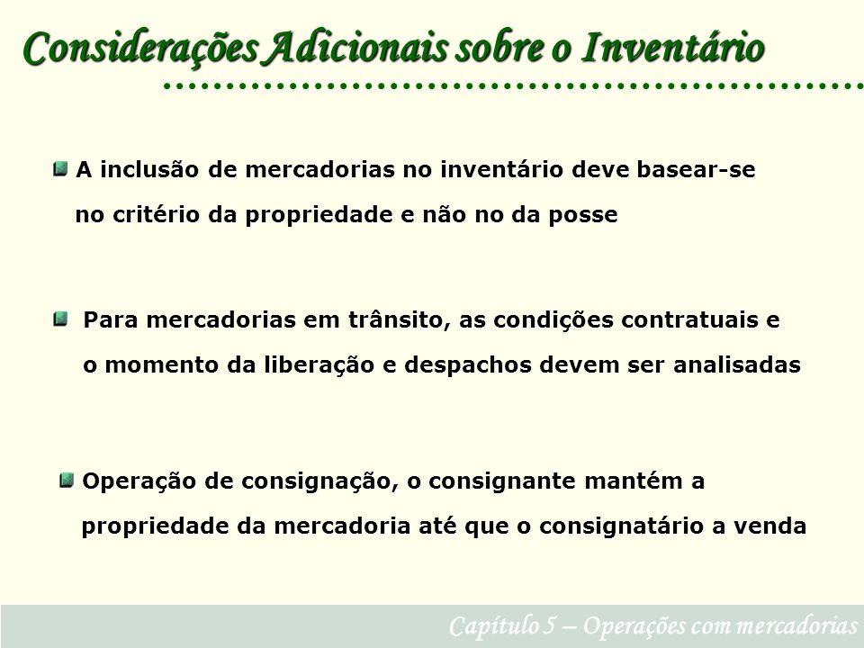 Considerações Adicionais sobre o Inventário