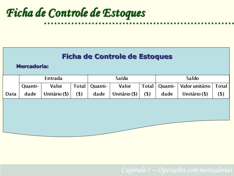 Ficha de Controle de Estoques