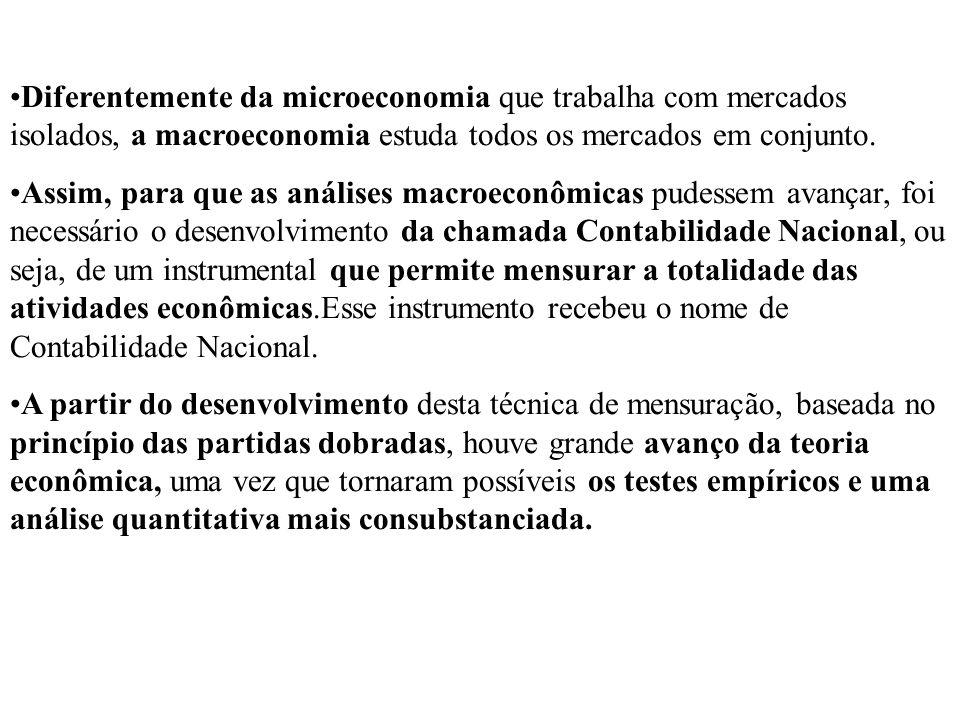 Diferentemente da microeconomia que trabalha com mercados isolados, a macroeconomia estuda todos os mercados em conjunto.