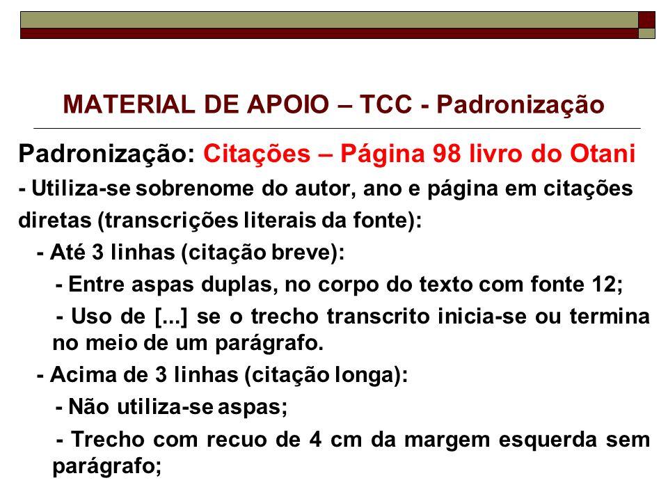 MATERIAL DE APOIO – TCC - Padronização